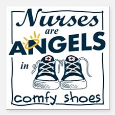 "Nurses Are Angels in Com Square Car Magnet 3"" x 3"""