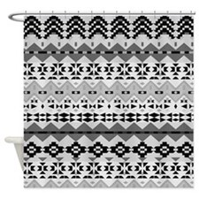 Black And White Aztec, Shower Curtain