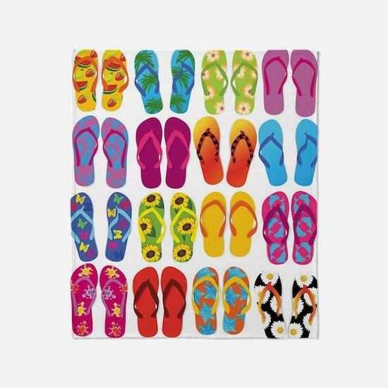 Colorful-Flip-Flops-Vector-Set Throw Blanket