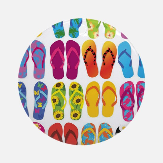 Colorful-Flip-Flops-Vector-Set Round Ornament