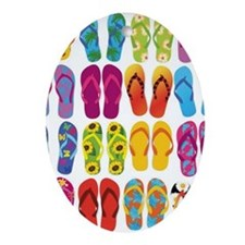 Colorful-Flip-Flops-Vector-Set Oval Ornament