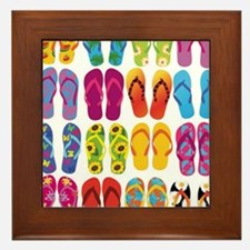 Colorful-Flip-Flops-Vector-Set Framed Tile