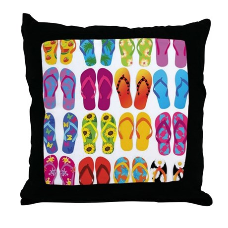 Colorful-Flip-Flops-Vector-Set Throw Pillow by Admin_CP8215891