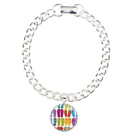 Colorful-Flip-Flops-Vect Charm Bracelet, One Charm