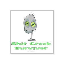 """ShitCreekSurvivorGreen Square Sticker 3"""" x 3"""""""