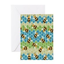 Honey Bee Blue Greeting Card
