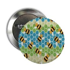 "Honey Bee Blue 2.25"" Button"
