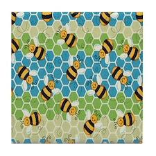 Honey Bee Blue Tile Coaster