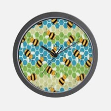 Honey Bee Blue Wall Clock