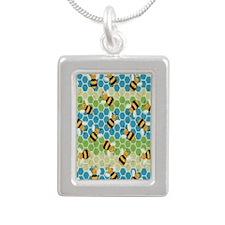 Honey Bee Blue Silver Portrait Necklace