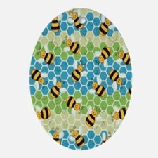Honey Bee Blue Oval Ornament