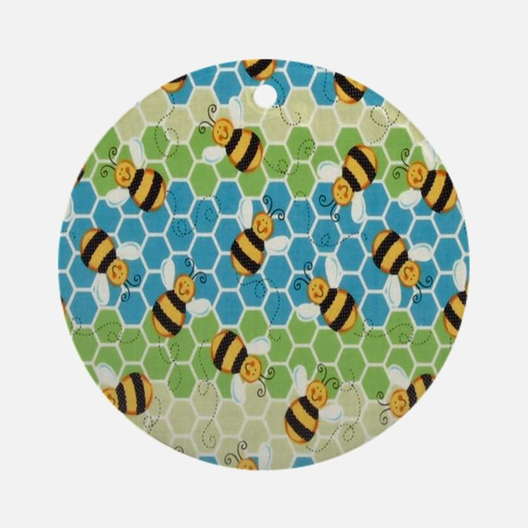 Honey Bee Blue Round Ornament