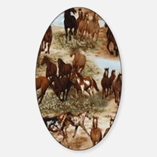 Horses Sable Sticker (Oval)
