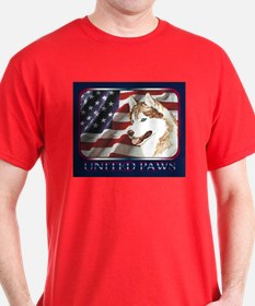 Red Siberian Husky US Flag Dark Colored T-Shirt