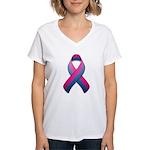 Bi Pride Ribbon Women's V-Neck T-Shirt