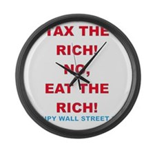 tax-eat-the-rich Large Wall Clock