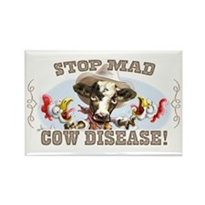 Funny Stop Mad Cow Disease Rectangle Magnet