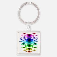 rainboweyespsd Square Keychain
