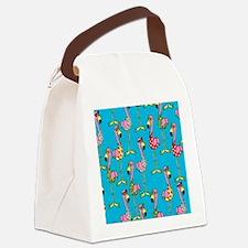 sharp-flamingos- Canvas Lunch Bag