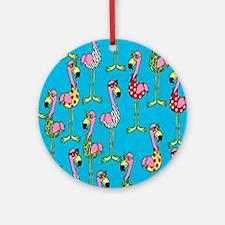 sharp-flamingos- Round Ornament