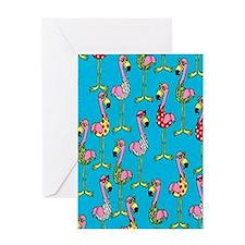 sharp-flamingos- Greeting Card