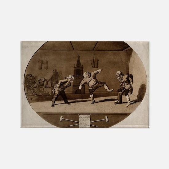Three men wearing orthopedic apparatus exercising