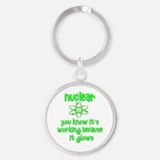 funny nuclear atomic radiation Round Keychain