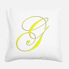 Edwardian Script-G Yellow Square Canvas Pillow