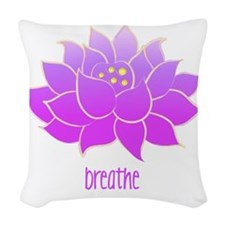 breathe lotus Woven Throw Pillow