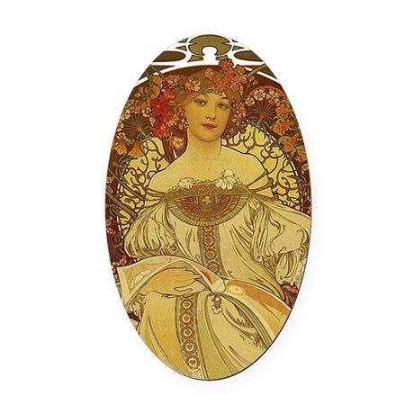 Dreams by Alphonse Mucha Oval Car Magnet