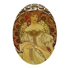 Dreams by Alphonse Mucha Oval Ornament