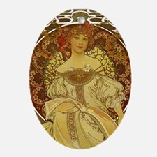 Dreams by Alphonse Mucha Oval Ornament