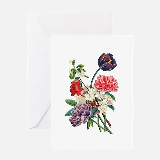Jean Louis Prevost Tulips & Peonies Greeting Card