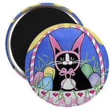 Black Tuxedo Cat Easter Bunny Art Magnet