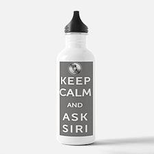 KeepCalmAskSiri11x17_p Water Bottle