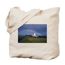Rainbow And Lighthouse Tote Bag
