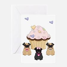 Cupcake Pug Dogs Greeting Card