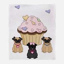 Cupcake Pug Dogs Throw Blanket