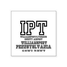 "AIRPORT CODES - IPT - WILLI Square Sticker 3"" x 3"""