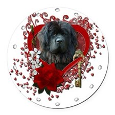 Valentine_Red_Rose_Newfoundland Round Car Magnet