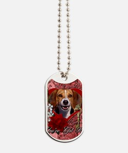 Valentine_Red_Rose_Beagle2 Dog Tags