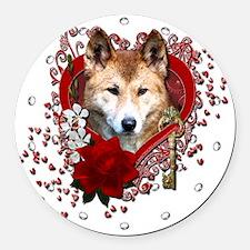 Valentine_Red_Rose_Dingo Round Car Magnet