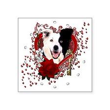 """Valentine_Red_Rose_BorderCo Square Sticker 3"""" x 3"""""""