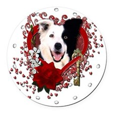 Valentine_Red_Rose_BorderCollie Round Car Magnet