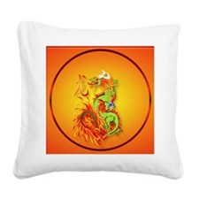 Circle ornament Flaming Drago Square Canvas Pillow