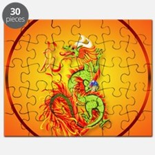 Circle ornament Flaming Dragon with Symbol Puzzle