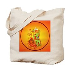 Circle ornament Flaming Dragon with Symbo Tote Bag