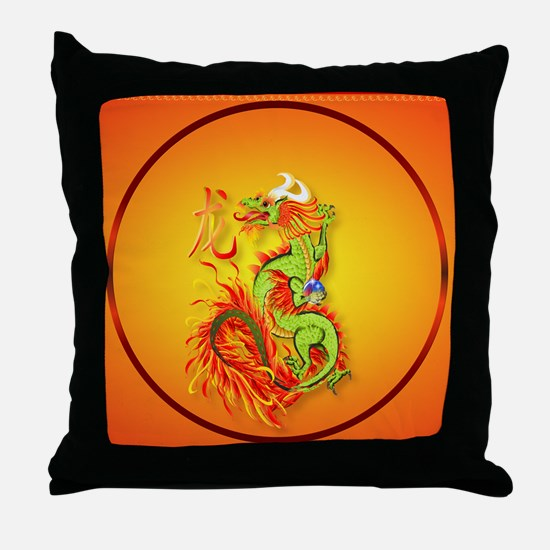 Circle ornament Flaming Dragon with S Throw Pillow