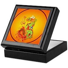 Circle ornament Flaming Dragon with S Keepsake Box