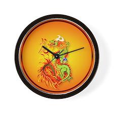 Circle ornament Flaming Dragon with Sym Wall Clock